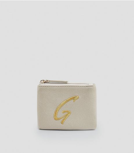 Stone Metallic Initial G Embroidered Purse | New Look