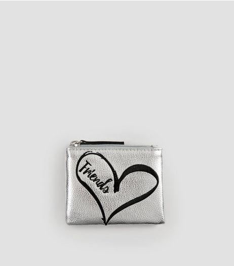 Silver Friends Zip Top Purse | New Look