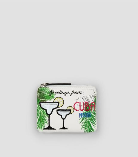 White Cuban Postcard Zip Top Purse | New Look