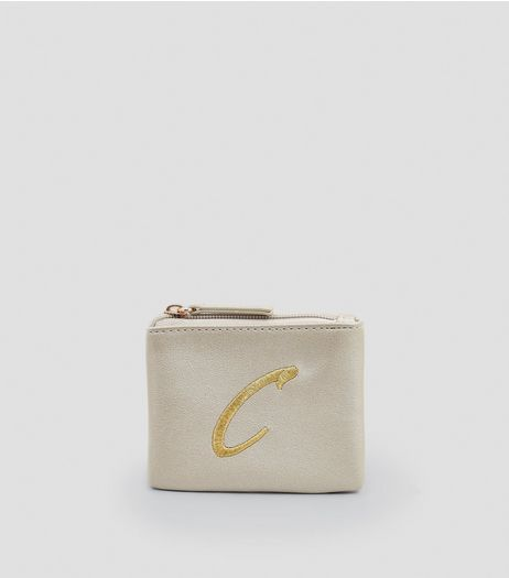 Stone Metallic Initial C Purse | New Look