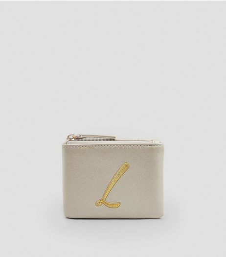 Stone Metallic Initial L Embroidered Purse | New Look