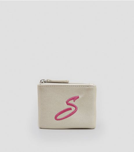 Stone Metallic Initial S Embroidered Purse | New Look