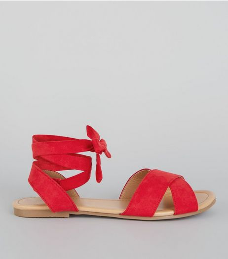 Teens Red Suedette Ankle Tie Sandals | New Look