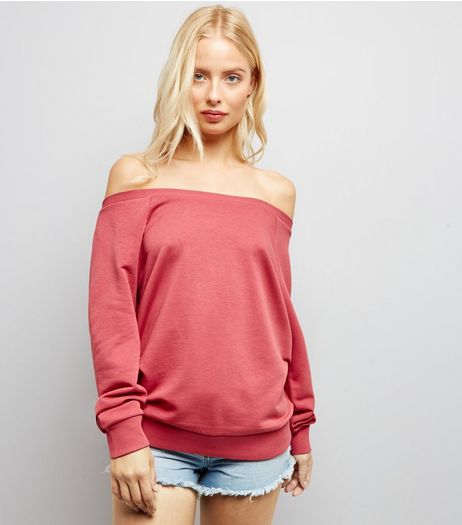 Deep Pink Bardot Neck Sweater  | New Look