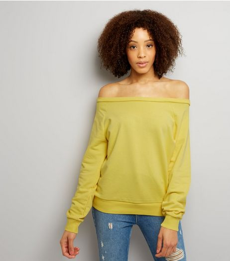 Yellow Bardot Neck Sweater  | New Look