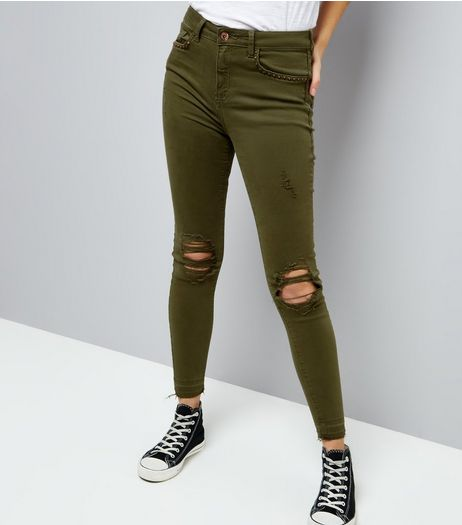 Khaki Studded Pocket Ripped Skinny Jenna Jeans | New Look