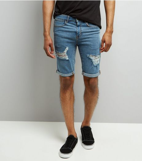 Blue Ripped Slim Leg Denim Shorts | New Look