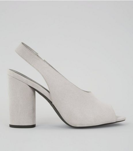 Grey Suedette Peep Toe Slingback Heels | New Look