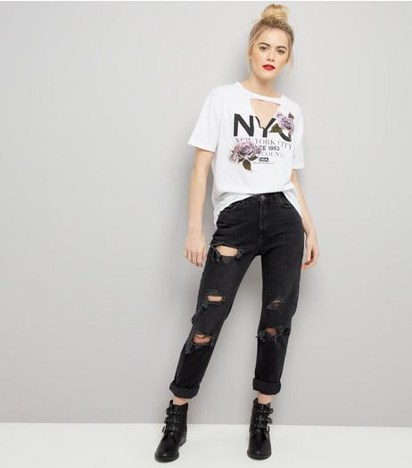 White NYC Print Choker Neck T-Shirt  | New Look