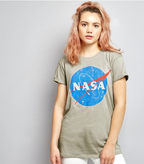 Pale Grey NASA Print Short Sleeve T-Shirt  | New Look