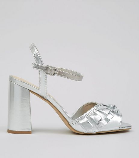 Silver Metallic Frill Strap Block Heels | New Look
