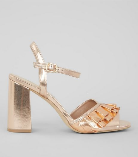 Rose Gold Metallic Frill Trim Block Heels | New Look