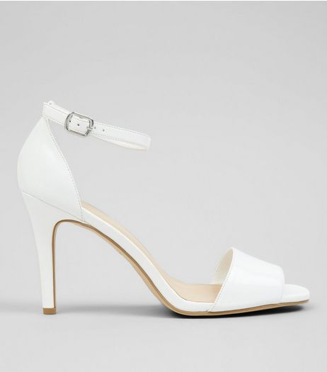 White Patent Square Toe Heeled Sandals | New Look