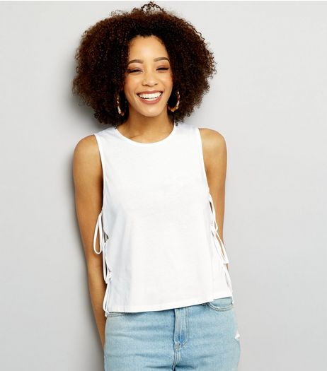 White Tie Side Tank Top | New Look