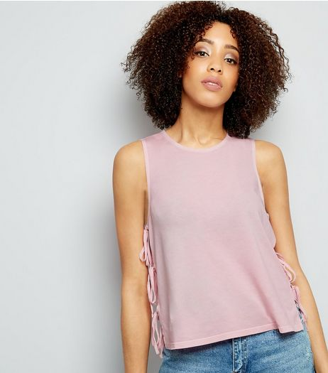 Bright Pink Tie Side Tank Top  | New Look
