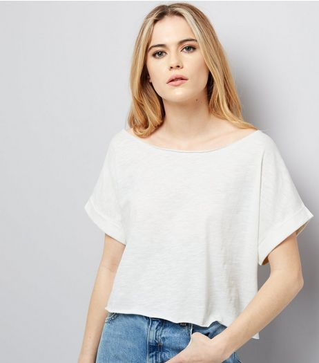 White Rolled Sleeve Crop Top | New Look