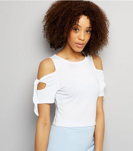 White Cold Shoulder Tie Sleeve T-Shirt  | New Look