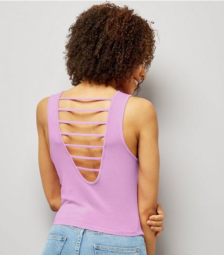 Purple Strappy Back Vest  | New Look