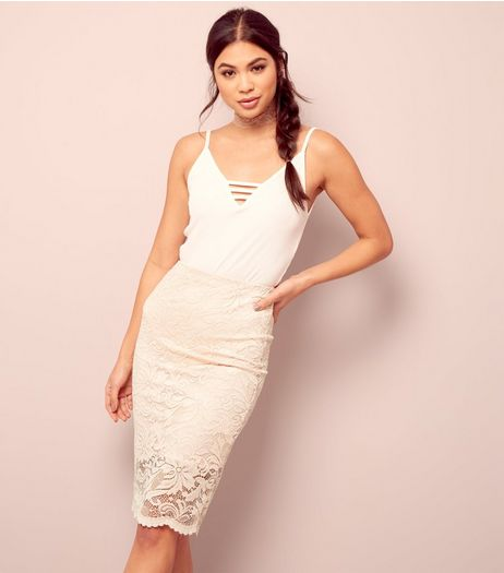 Shell Pink Lace Midi Pencil Skirt | New Look