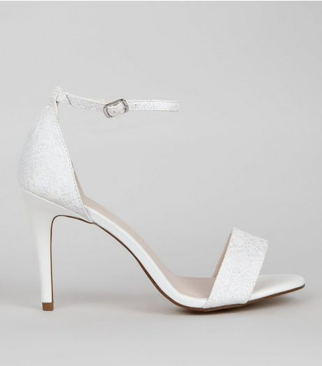 Ivory Satin Lace Ankle Strap Heels | New Look