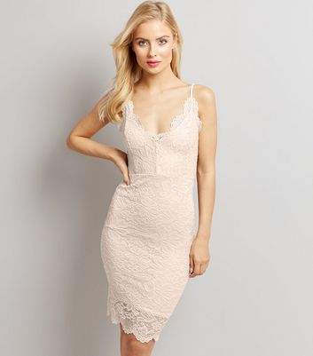 Shell Pink Lace Bodycon Dress