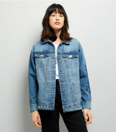 Noisy May Blue Patchwork Stud Trim Denim Jacket  | New Look