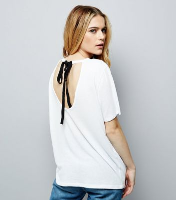 White Contrast Tie Back T-Shirt