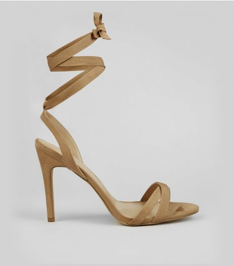 Cream Ribbon Tie Heeled Sandals | New Look