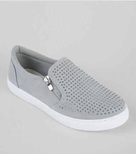 Teens Grey Suedette Diamante Zip Side Plimsolls | New Look