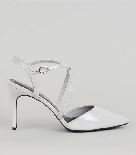 Grey Patent Cross Strap Pointed Heels | New Look