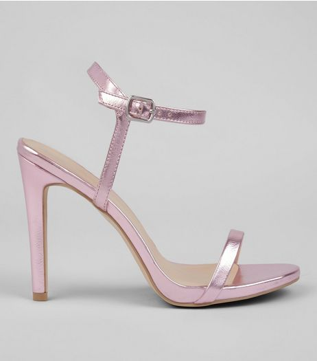Pink Metallic Ankle Strap Heels | New Look
