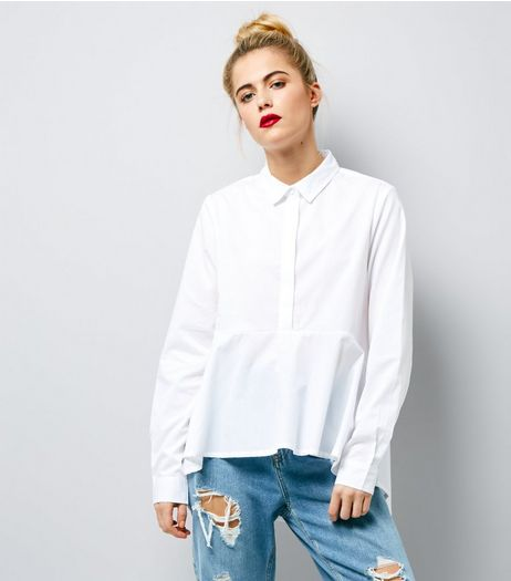 Noisy May White Peplum Hem Shirt | New Look