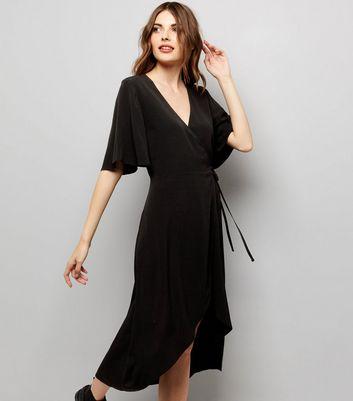 Black Wrap Front Midi Dress