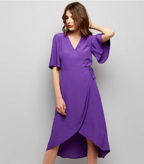 Purple Wrap Front Midi Dress  | New Look