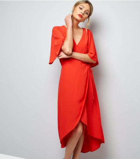 Red 1/2 Sleeve Wrap Front Midi Dress  | New Look