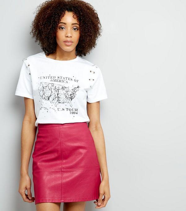 Tall Bright Pink Leather-Look Mini Skirt