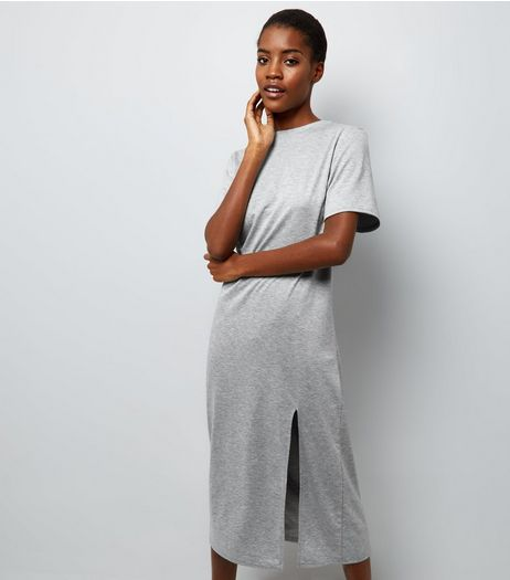 Pale Grey Split Side Midi T-Shirt Dress   | New Look