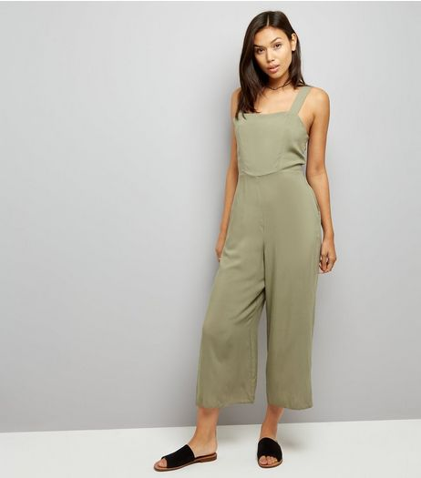 Khak Tie Back Jumpsuit | New Look