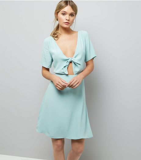 Green Tie Front Skater Dress  | New Look