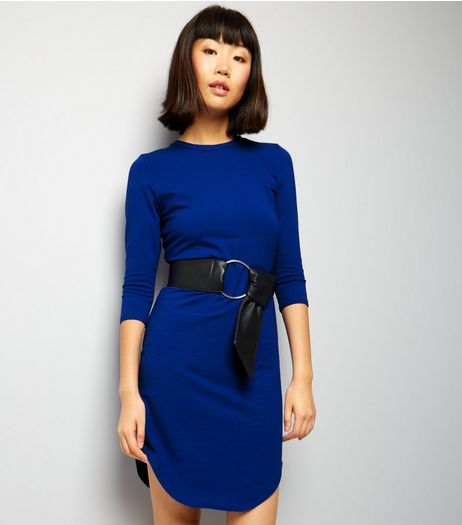 Blue 3/4 Sleeve Curved Hem Midi Dress | New Look