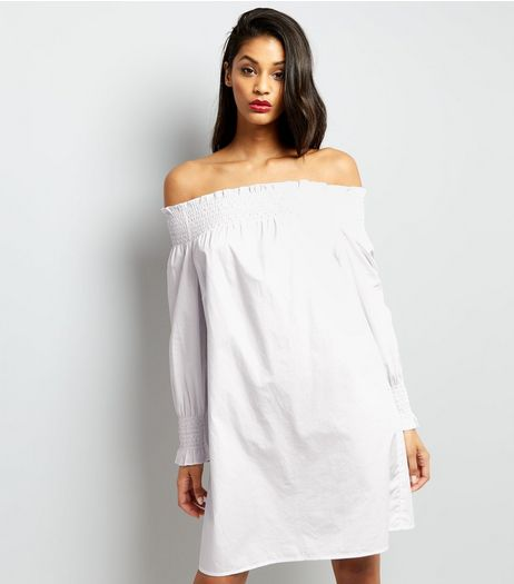 White Shirred Bardot Neck Dress  | New Look