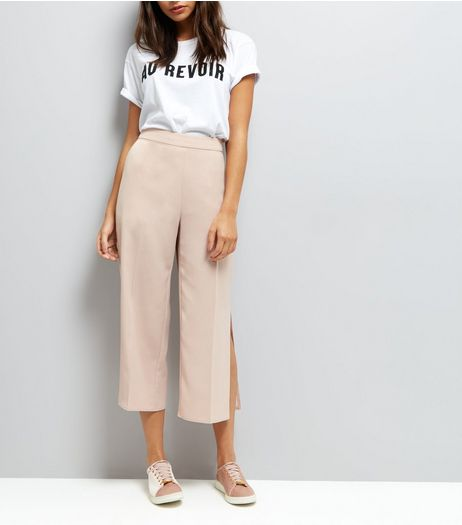 Shell Pink Split Side Cropped Trousers | New Look