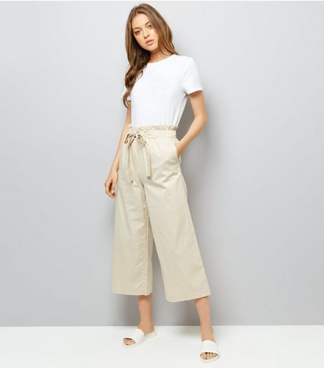 Stone Tie Waist Cropped Trousers | New Look