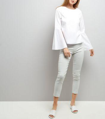 White Gingham Check Bengaline Trousers
