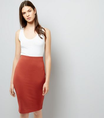 Brown Textured Pencil Skirt