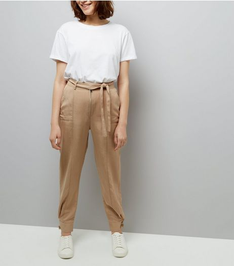 Brown Tie Waist Cuffed Hem Trousers  | New Look