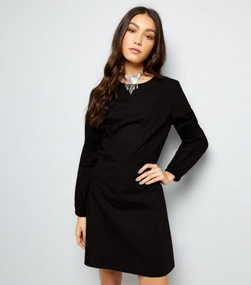 Black Balloon Sleeve Dress