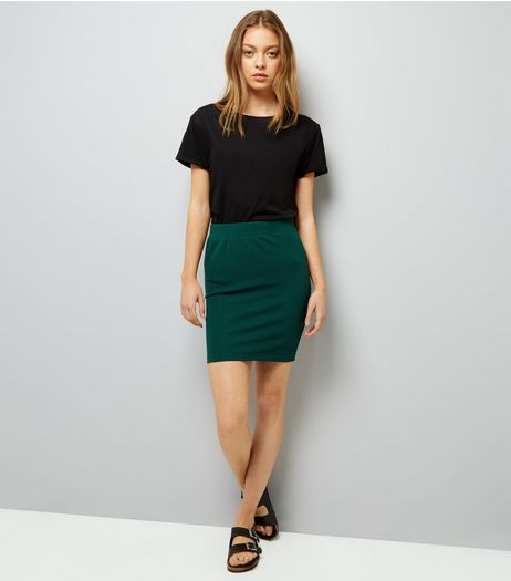 Dark Green Textured Mini Tube Skirt | New Look