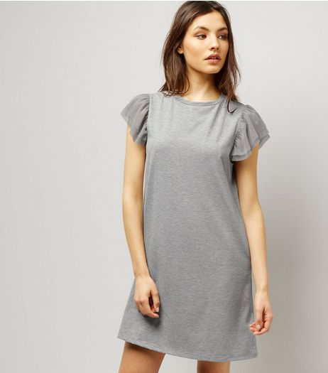 Grey Tulle Sleeve T-Shirt Dress  | New Look