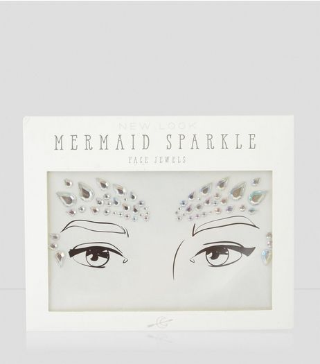 Silver Holographic Mermaid Face Jewels | New Look